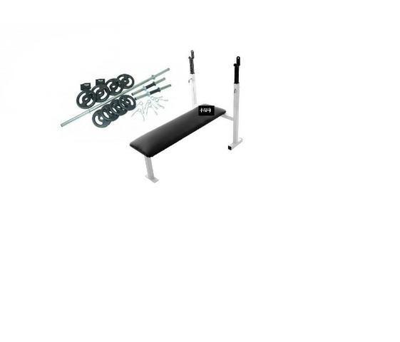 Banco supino reto fixo com apoio de barra + barras 40cm e barra 1,50 com 20kgs de anilhas