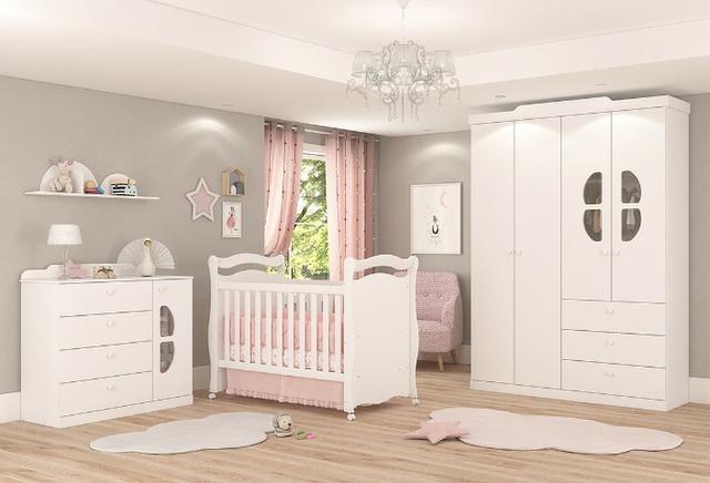 Frete Grátis* Quarto de Bebê Armário, Cômoda - Berço Sonho - Alegria *NOVO - Foto 2