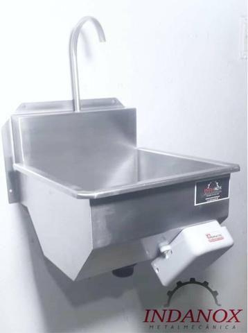 Lavatório assepsia mãos e antebraço cozinhas industriais açougues frigorificos - Foto 4