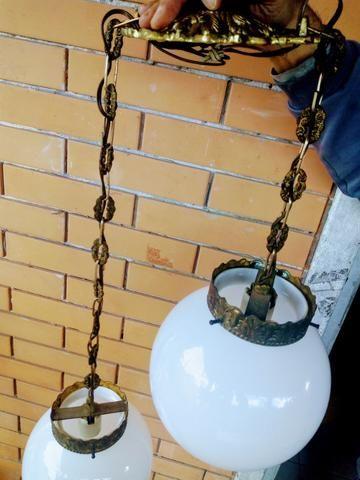 Lustre de opalina com bronze - Foto 4