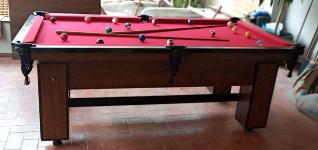 Mesa de Bilhar Charme Imbuia Tecido Vermelho Modelo LKD6531 - Foto 4