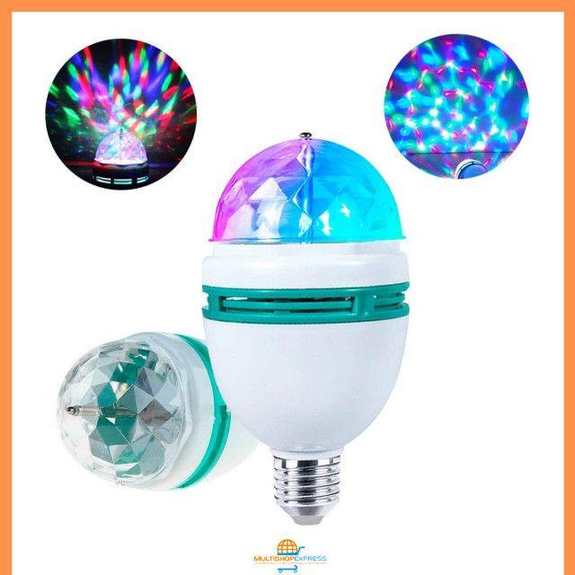 Lâmpada de LED Colorido Rotativa Giratória Bola Maluca Festa - Foto 2