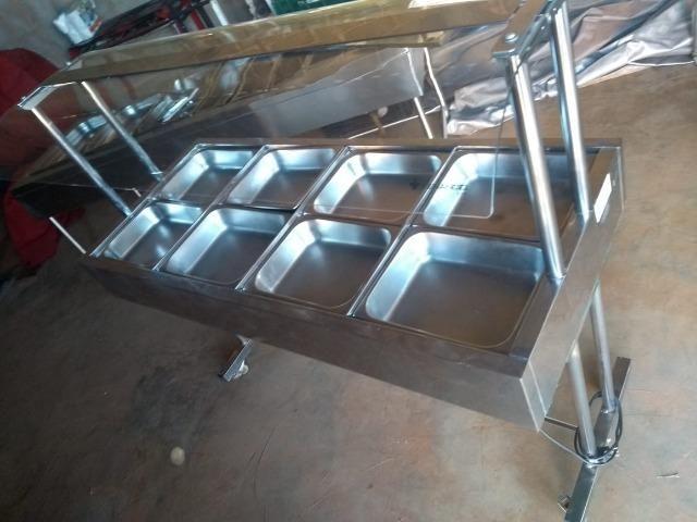 Vende-se Buffet Self service elétrico com 08 cubas proteção superior em vidro
