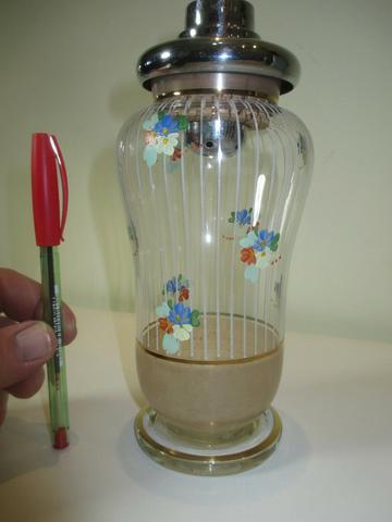 Coqueteleira de vidro decorado anos 50 ou 60 sem a tampinha