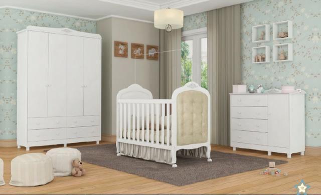 Frete Grátis* Quarto de Bebê Armário, Cômoda Lisa e Berço - Conforto Elô *NOVO