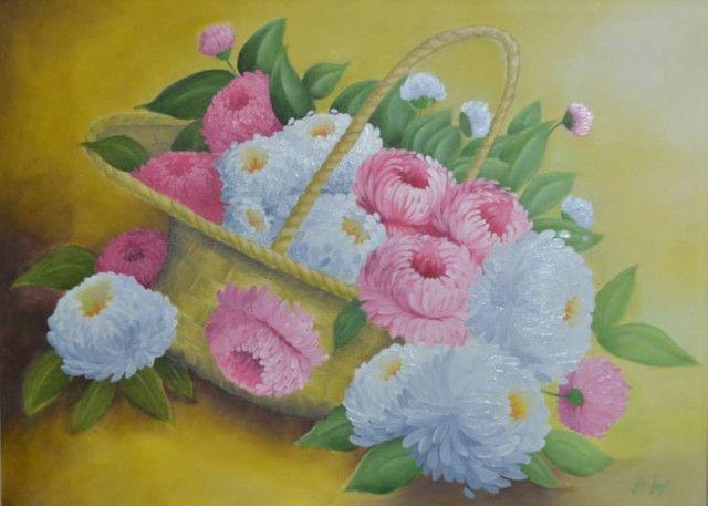 Quadro Decorativo Óleo sobre Tela - Cesta Flores