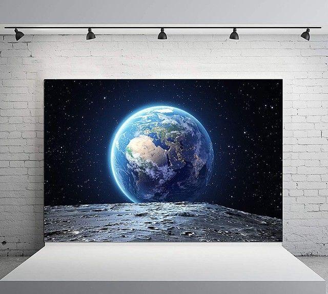 Painel sublimado com estampa de planeta Terra