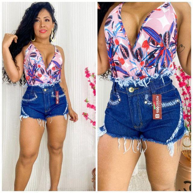 Shorts Jeans Feminino Hot Pants Cintura Alta Shorts Bermuda - Foto 6