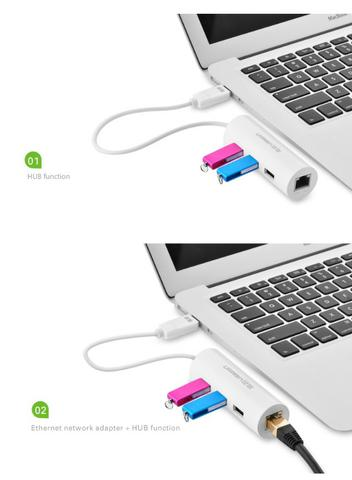Adaptador Ethernet c/ Hub USB uGreen - Foto 3