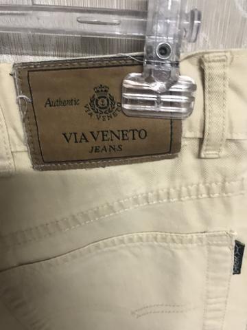 Calça sarja via Vêneto, masculina, tamanho 44, elegante