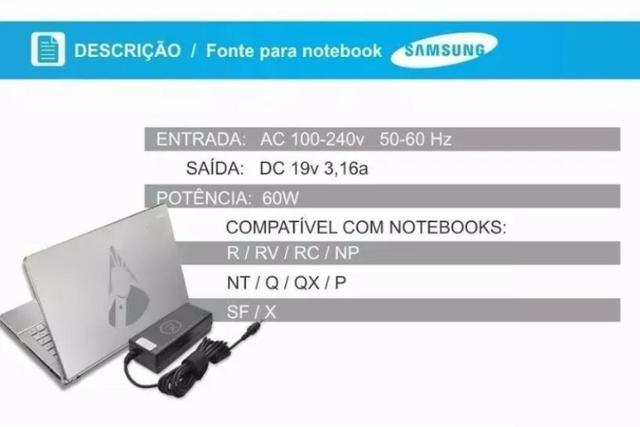Fonte Carregador Notebook Samsung - Foto 3