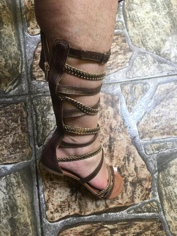 2cdcc897e9 Sandália gladiadora couro dourada número 34 - Roupas e calçados ...