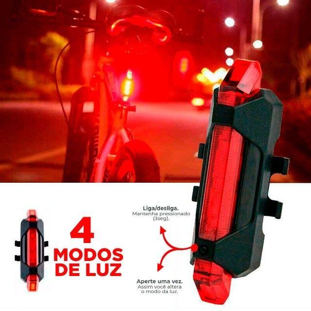 Lanterna Bike Dianteira Com Buzina mais Sinalizador Led Traseiro - Foto 4