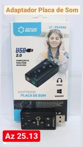 Placa De Som Usb 7.1 Adaptador Audio P2 P3 Pc Notebook