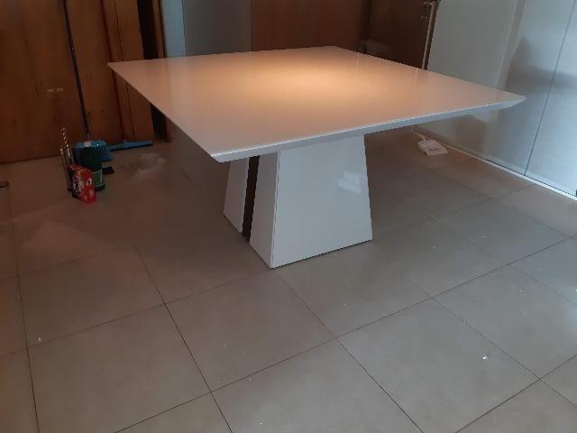 Mesa de jantar com tampo em vidro Branco Laca 8 cadeiras Zap * - Foto 6