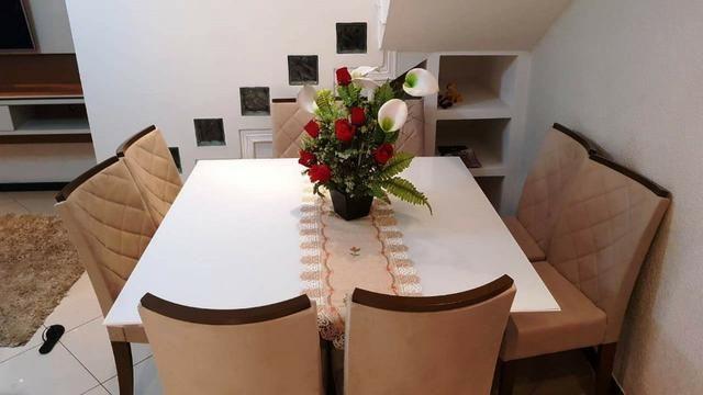 Mesa de jantar com tampo em vidro Branco Laca 8 cadeiras Zap * - Foto 2