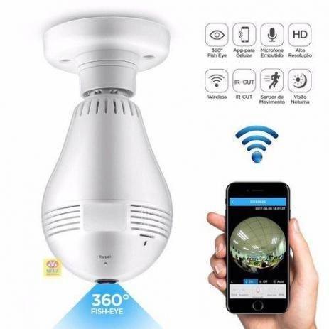 Lâmpada Espiã Câmera Ip Led Wifi Hd Panorâmica 360º Celular - Foto 3