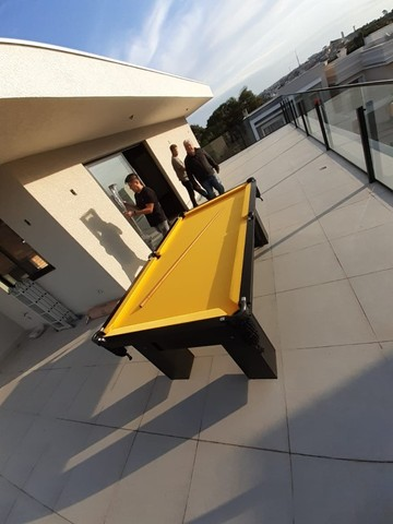 Mesa de Bilhar Charme Preta Tx Tecido Amarelo Modelo HFS6548 - Foto 4