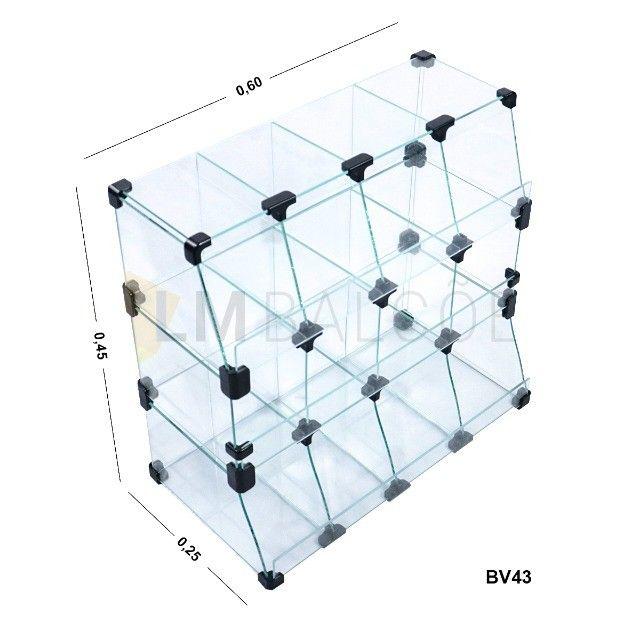 Baleiro De Vidro Piramide  - 0,60 x 0,45 x 0,25