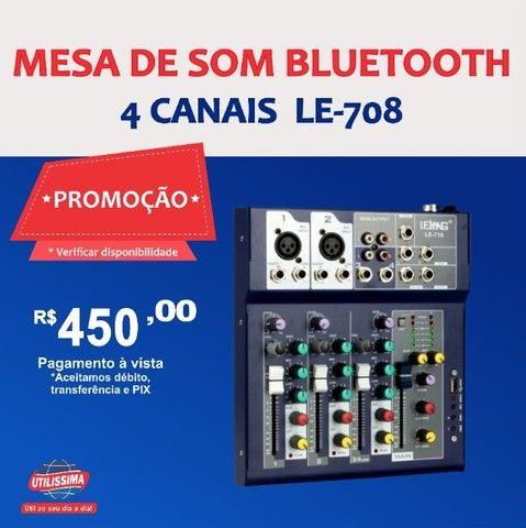 Mesa de som Bluetooth 4 canais  LE-708  -Entrega Grátis