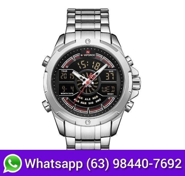 Relógio Masculino Esportivo Digital Naviforce 9170 Prata - Foto 3