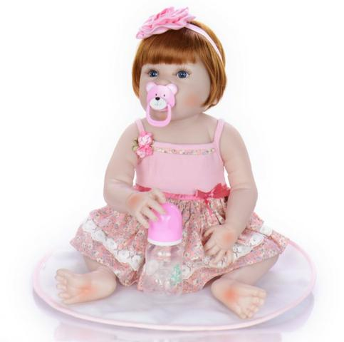 Pronta Entrega Boneca Bebê Reborn Ruiva 57cm