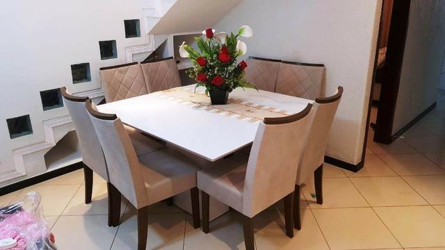 Mesa de jantar com tampo em vidro Branco Laca 8 cadeiras Zap * - Foto 3