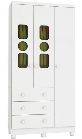 Roupeiro Infantil Guarda Roupas 3 portas 3 gavetas - Tedy *NOVO* ShopMix Móveis