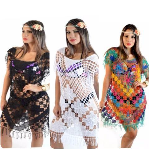 a6451093b2 Saídas de banho praia de renda filé crochê revenda atacado roupas moda  feminina