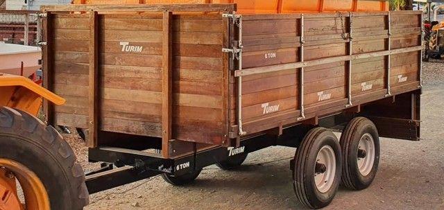 Carreta Agrícola Turim 6 Toneladas, Eixo Tandem, com Freio, Ano 2018, sem uso.