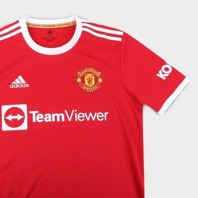 Camisa Manchester United Home 21/22 s/n° Torcedor Adidas Masculina - Vermelho - Foto 3