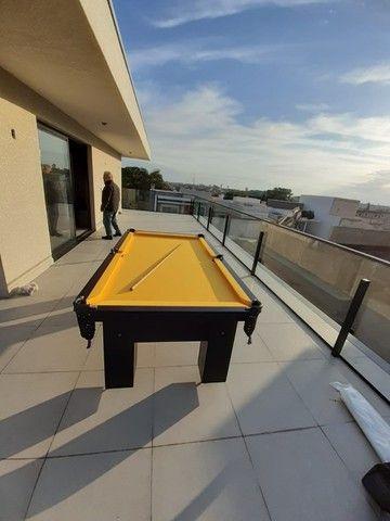 Mesa de Bilhar Charme Preta Tx Tecido Amarelo Modelo HFS6548 - Foto 5