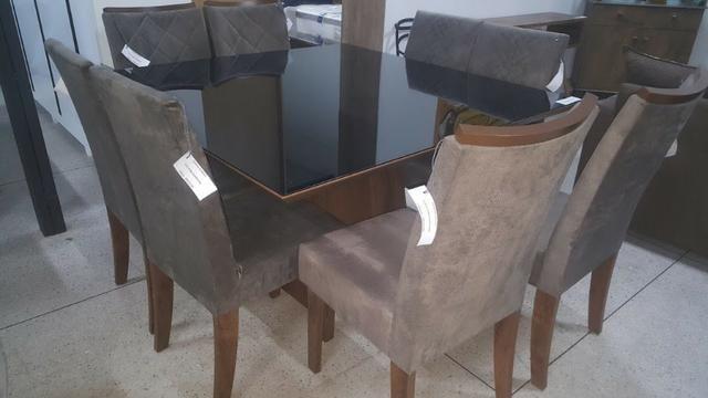 Mesa de jantar com tampo em vidro Branco Laca 8 cadeiras Zap * - Foto 4