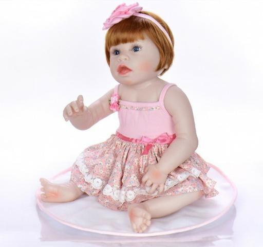 Pronta Entrega Boneca Bebê Reborn Ruiva 57cm - Foto 4