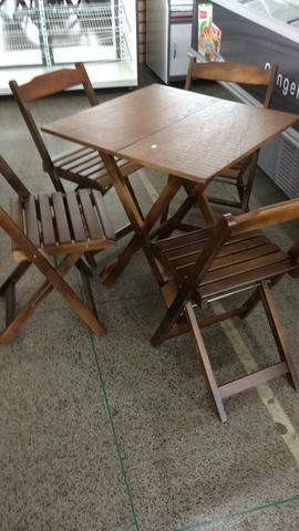 Comjunto de mesa dobrável de madeira - Foto 3