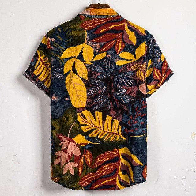 Camisa de Botão Masculina Shein - Floral Mostarda - Tamanho G - Foto 2
