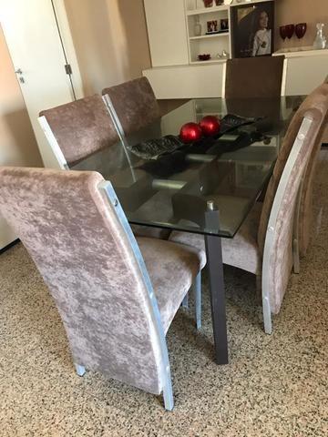 Mesa de Sala Com 6 Cadeiras (Vidro) - Foto 6