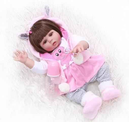 Boneca Reborn Bebê Coelinha toda de Silicone