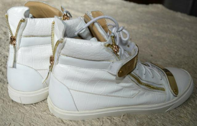 Tênis sneaker Giuseppe Zanotti branco e dourado masculino, original - Foto 3
