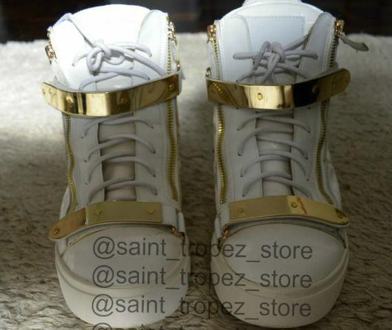 Tênis sneaker Giuseppe Zanotti branco e dourado masculino, original - Foto 5
