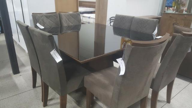 Mesa de jantar com tampo em vidro Branco Laca 8 cadeiras Zap * - Foto 5