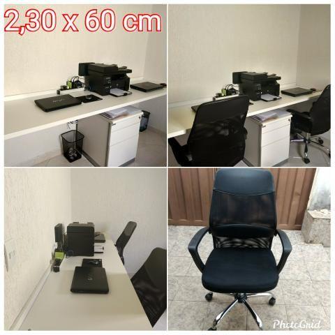 Bancada de trabalho MDF branco + cadeiras de escritório+ móvel arquivo - Foto 2