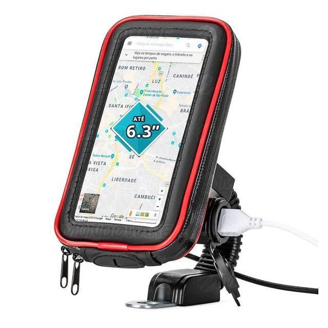 """Suporte Case USB para Carregar Celular para Moto e Bicicleta 360º 6.3"""""""