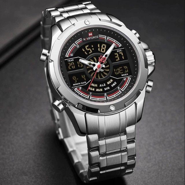 Relógio Masculino Esportivo Digital Naviforce 9170 Prata