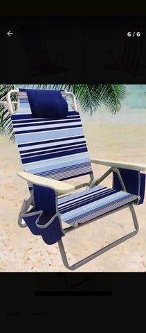 Cadeira De Praia Reclinável Com Bolsa Térmica