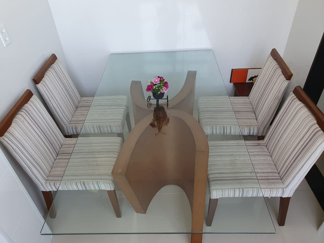 Mesa Jantar de vidro 180 x 100 cm