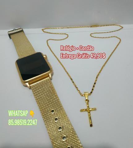 Conjunto relógio e cordão Banhado a Ouro 18k Entrega Grátis Fortaleza e Região