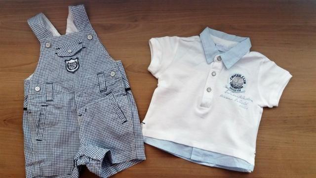 Charmoso conjunto de jardineira com camisa polo da marca Chicco para bebês  de 3 meses 12fac967a4e6d