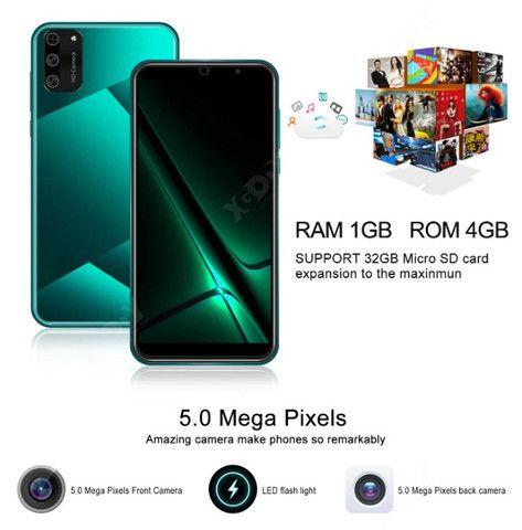 Xgody s20 mini 3g smartphone 1gb ram 4gb rom android 9.0 sim duplo 5.5 tela 5mp câmera