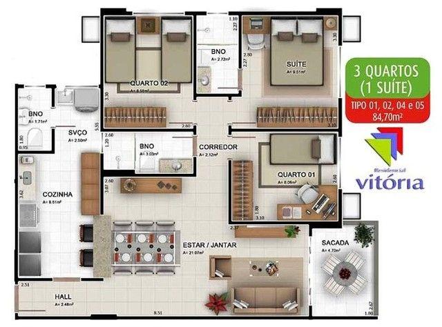 Apartamento de 3 quartos sendo 1 suítes com 2 vagas de garagens soltas - Foto 2